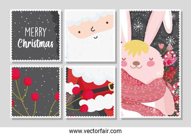 santa and bunny berries snowflakes merry christmas banners
