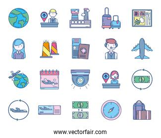 travel aviation transport airport icons