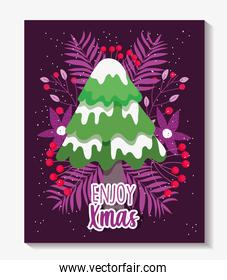 tree with snow leaves foliage enjoy merry christmas card