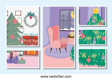 christmas tree to home decoration celebration stamps