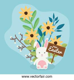 cute rabbit with flowers and easter label