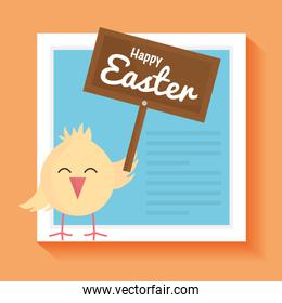 little chick easter with wooden label character