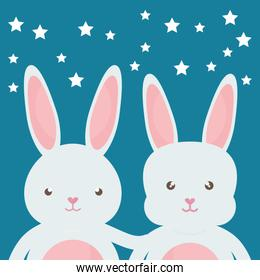 cute rabbits characters icon