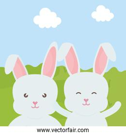 cute rabbits in the landscape characters