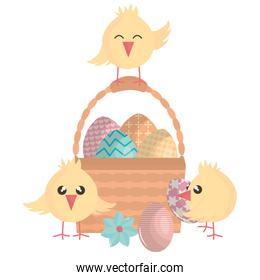 eggs painted in basket with little chick happy easter