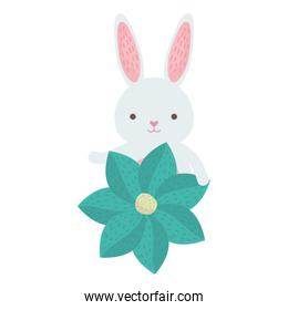 cute rabbit with flower character