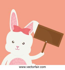 cute rabbit with wooden label character