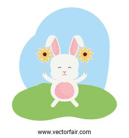 cute rabbit in the landscape character