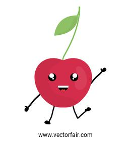 delicious cherry fruit kawaii character