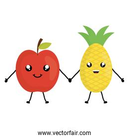 delicious apple and pineapple kawaii characters