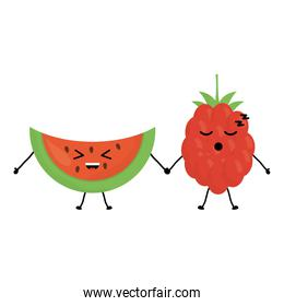 delicious watermelon and blackberry kawaii characters