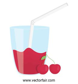 glass with juice of cherry