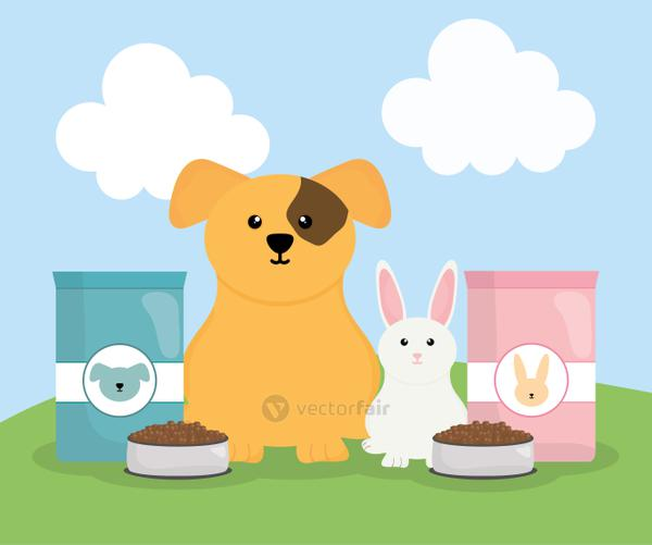 cute little dog pet and rabbit with food