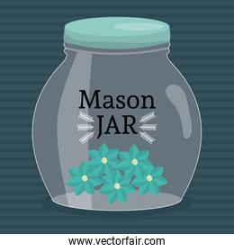 mason jar glass with lid and flowers