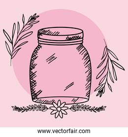mason jar glass with lid and flowers drawing