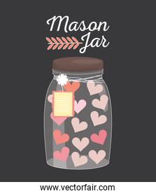 mason jar glass with hearts and tag hanging