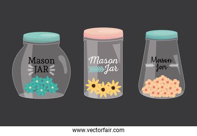 set of mason jars with lid and flowers