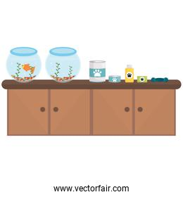 pet shop wooden drawer with aquariums and products