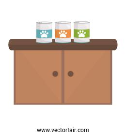 pet shop wooden drawer with food products