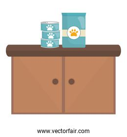 pet shop wooden drawer with products food
