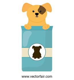 cute little dog with food bag character