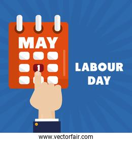 calendar reminder with hand index labour day