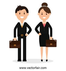 young business couple avatars characters