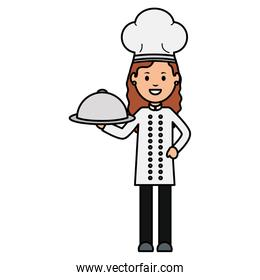 young female chef with tray server