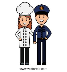 young female chef with officer police