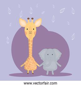 cute giraffe and elephant adorable characters