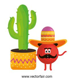 mexican emoji with hat and cactus character