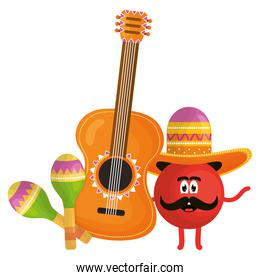 mexican emoji character with guitar and maracas