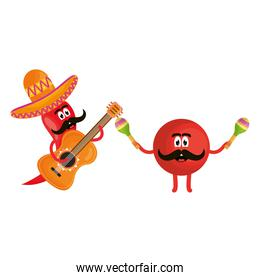 mexican emoji character with guitar and chilli pepper