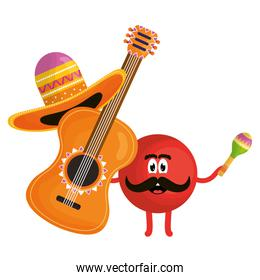 mexican emoji character with guitar