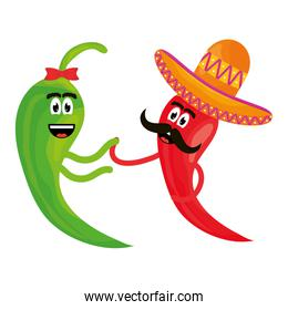 chilli peppers with mexican hat comic characters