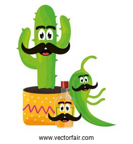 mexican cactus and chilli pepper emoji characters