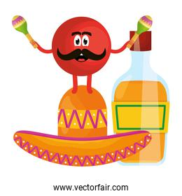 mexican emoji with hat and tequila bottle