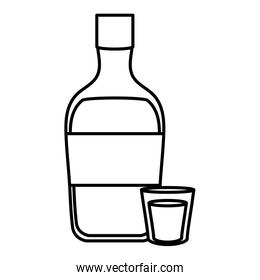 tequila bottle alcohol icon vector illustration
