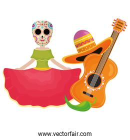 traditional katrina with guitar and hat character