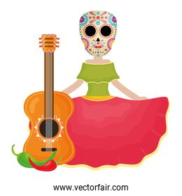 traditional katrina with guitar and chilli peper character