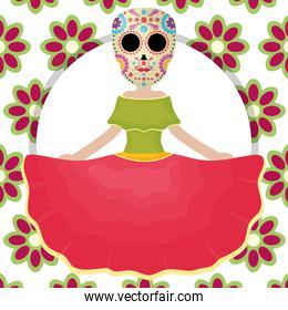 traditional katrina mexican character with floral pattern