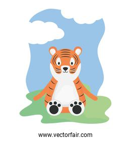 cute tiger in the camp childish character