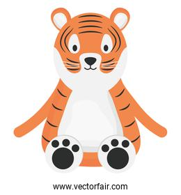 cute tiger childish character vector illustration