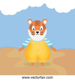 cute tiger with clothes character