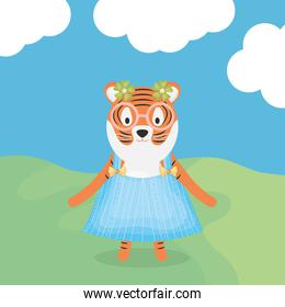 cute female tiger with clothes character