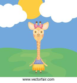 cute female giraffe with clothes character