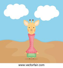 cute giraffe with clothes character