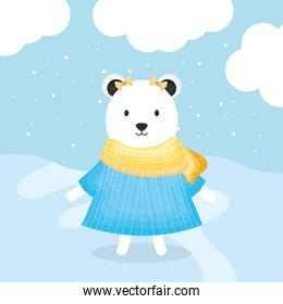 cute female bear polar with clothes character