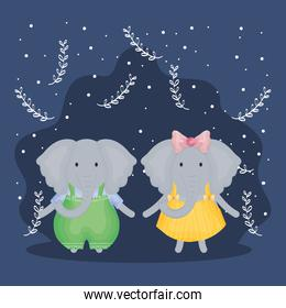 couple elephants with clothes characters