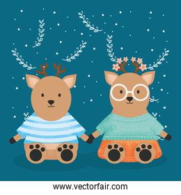 cute couple reindeer with clothes characters